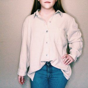 Vintage R&K Oversized Cream Button-Down Shirt